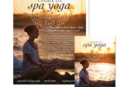 Copperfalls Candle Lit Spa Yoga Promotional Material