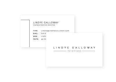 Lindye Galloway Interiors Business Card